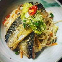 Mackerel Noodles Avocado